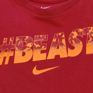 Boys XL #BEAST Nike Tee Red with neon orange